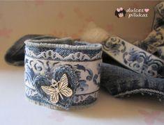 dulces pilukas: Pulsera tejana - Jeansbracelet - step by step Photo tutorial - Bildanleitung