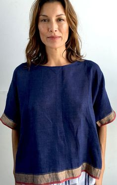 Boxy sari top An easy piece, Blue Linen top with metallic sari border. Color: Blue with gold border — Length 24 Cool Outfits, Casual Outfits, Fashion Outfits, Flannel Outfits, Shirts & Tops, Sari Dress, Layered Fashion, Loose Tops, Sewing Clothes