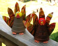 Paper cup turkeys (idea for M's class art project)