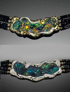 Unique Reversible Black Opal Choker Necklace A versatile and unique choker necklace, featuring a very large and fine black opal from Lightning Ridge, Australia. Bonhams.