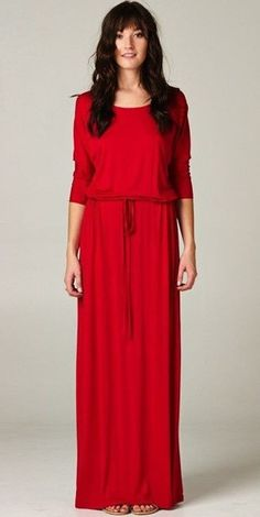 Modest Boyfriend Maxi Dress in red with elbow length sleeves |Mode-sty (also available in grey  navy)