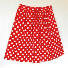 Ladies Gathered Tea Skirt Red & White Polka Dot Vintage Retro 50s by Tina Barton Designs on madeit.com.au