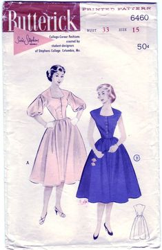 FREE SHIPPING Vintage 1953 Butterick 6460 Sewing Pattern Junior's, Misses' One-Piece Casual Dress with Choice of Sleeves Size 14 Bust 34