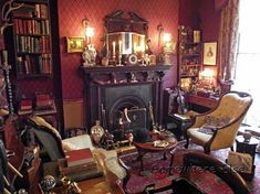 Home Library Room Victorian 37 Super Ideas Victorian Library, Victorian Living Room, Victorian Parlor, Victorian Interiors, Victorian Decor, Home Library Rooms, Home Libraries, Sherlock Holmes, Old Room