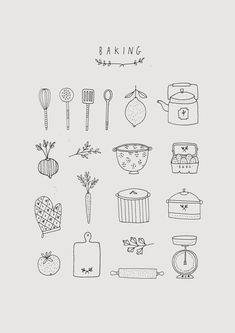 Ryn Frank is a freelance illustrator, specialising in hand drawn illustrations. Bullet Journal Ideas Pages, Bullet Journal Inspiration, Recipe Book Design, Handpoke Tattoo, Bakery Logo Design, Bakery Branding, Food Illustrations, Doodle Art, Cute Art