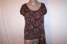 ANN TAYLOR Shirt Blouse Sz 6 100% Silk Floral Short Sleeves Lined Womens #AnnTaylor #Blouse #Career