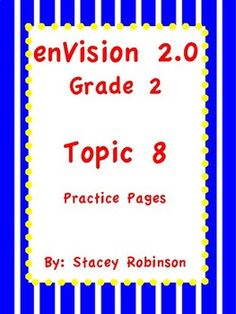 The new enVision math 2.0 is excellent, but has been a bit challenging. This extremely valuable product provides repetitive practice for skills from every lesson taught in Topic 8. ~~~~~~59 Total Pages~~~~~~ You will not be disappointed!! I hope I can help you, help your