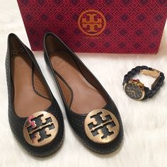 "NEW Tory Burch Reva Perforated Ballerina Flats! NEW Tory Burch 'Reva' Perforated Ballerina Flats. Size: 9.5. Color: Navy. Gold hardware. Comes in original TB shoe box with TB shoe dust pouch. ""A signature logo medallion tops the rounded toe of the iconic Reva ballet flat updated with a perforated leather finish."" DETAILS: Leather upper and lining/rubber sole.  Sizing info from TB: ""New Reva updated with a slightly more generous fit. Leather will stretch with wear."" Tory Burch Shoes Flats…"