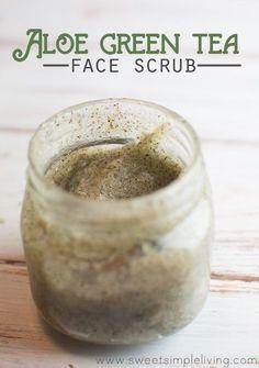 Aloe and Green Tea Face Scrub Recipe with Coconut Oil