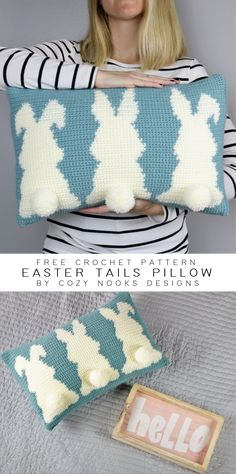 This free crochet pattern uses tapestry crochet to create an adorable bunny pillow perfect for Easter! A detailed tutorial with pictures walks you through how to change colors properly, so that you can make this free crochet pillow with ease! Crochet Pillow Patterns Free, Tapestry Crochet Patterns, Easter Crochet Patterns, Free Crochet, Free Pattern, Afghan Patterns, Square Patterns, Free Knitting, Crochet Cushion Cover
