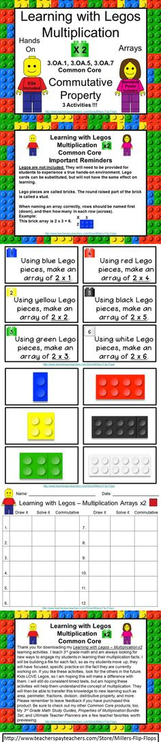 Learning with Legos - Multiplication x2: Common Core - 3.OA.1, 3.OA.5, 3.OA.7. (Legos not included) GREAT for Small Group or RTI. Includes: EQ Poster, Standards Poster, Important Reminders, 12 Lego Multiplication Task Cards for x2, facts, 12 Lego Brick Cards for x2 facts, 3 Activity Direction Pages - Independent and Partner, Student Recording Sheet, Answer Key