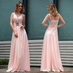 Charming Sheath/Column V-neck Empire Floor-length Beaded Pink Evening Dress