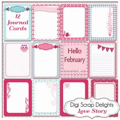 12 February Valentine Journal Cards #Project Life Cards by DigiScrapDelights #pink #Blue #hearts #Projectlife #Owl
