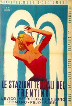 1954 Trentino Hot Spring Spas resorts, Italy vintage travel poster