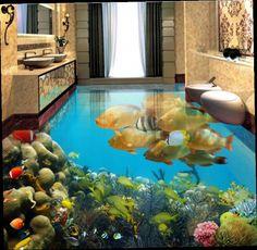 52.89$  Watch now - http://alitno.worldwells.pw/go.php?t=32672012062 - custom wallpaper 3d flooring Tropical Dolphin wallpaper living room vinyl flooring waterproof pvc self adhesive wall paper