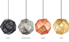 Etch Suspension Lamp - hivemodern.com Design Tom Dixon, 2012 Etched metal sheet, fabric cord Made by Tom Dixon