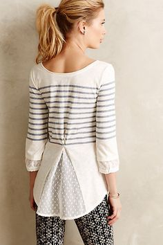 Ellene Chiffon-Trimmed Tee   anthropologie.com #anthroregistry  upcycling idea...knit shirt, blouse