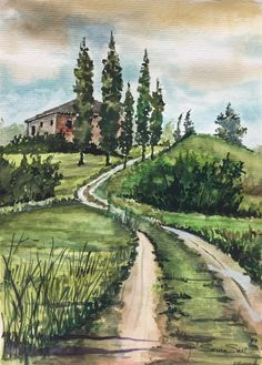 ArtEWorld by Sanika Dhanorkar: Watercolour Painting: A Landscape Watercolor Paintings For Beginners, Watercolor Landscape Paintings, Easy Watercolor, Watercolor Techniques, Watercolour Painting, Painting Techniques, Landscape Art, Watercolors, Image Nature
