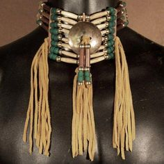 Native American 4 Strand Amber Horn  Antiqued Bone Choker with brass center disc. $115