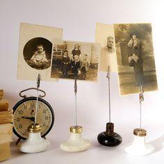 vintage door knob photo holder by ChicFrangine on Etsy, $18.00 use them as card holders, business cards photos, recipes in the kitchen the possibilities are endless......