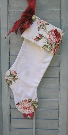 Christmas Stocking White with Red Roses by paintedquilts on Etsy, $42.00