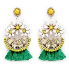 Infused with Hawaiian vibes, these Lemondrops earrings from Elizabeth Cole are presented in a hoop style with a mix of sunflowers and a slic Swarovski Crystal Earrings, Tassel Earrings, Crystal Jewelry, Hoop Earrings, Black Gold Jewelry, Gold Rings Jewelry, Hawaiian Jewelry, Diy Tassel, Lemon Yellow