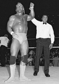 Hulk Hogan and Muhammad Ali at Wrestlemania 1