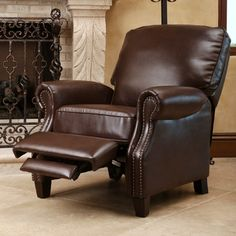Home Marketplace Abbyson Living Cliff Leather Push Back Recliner - Dark Brown