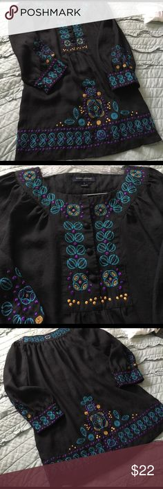 """Boho Beauty by Banana Republic Very light cotton almost like sheer voile tunic. Covered buttons at cuffs & yoke closure. Top of the line embroidery w gold stitching to appear as studs. Class all over the way flowing over jeans or leggings. Very loose fitting on larger side of a sm. 36"""" bust, 26"""" length. Don't pass this on by if u r a BOHO Gal Banana Republic Tops Blouses"""