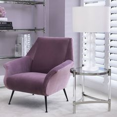 Get a relaxed retro look that adds style and comfort to your home interior with the lilac velvet upholstered Trezzo Chair. Mid-Century Modern style with an elegant classy touch will inspire a fresh look and go perfectly in any room of your house. Silver Side Table, Glass Side Tables, Glass Table, White Lamp Shade, White Table Lamp, Glass Lamp Base, Acrylic Rod, Sofa, Frosted Glass