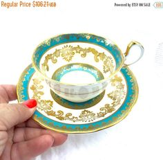 SEPTEMBER SALE Stunning Aynsley Teacup and Saucer Bone China french blue 24K gold accents  Made in England