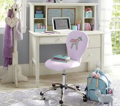 I could so see Sora's room like this. Madeline desk collection from Pottery barn kids