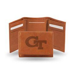 Georgia Tech Yellow Jackets Brown Leather Tri-Fold Wallet