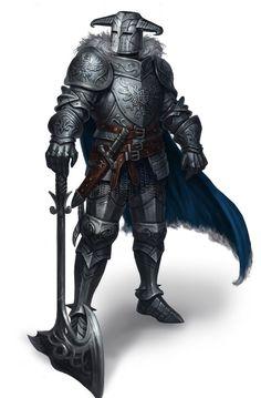 m Paladin Plate Armor Helm Cloak Battle Axe midlvl