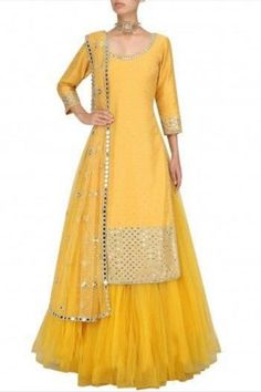 Items similar to yellow chanderi kurta with mirror embroidery, skirt and dupatta Indian wedding outfit bridesmaid dress yellow mehendi Sangeet lengha choli on Etsy Lehenga Designs, Choli Designs, Kurta Designs Women, Kurti Designs Party Wear, Indian Gowns Dresses, Pakistani Dresses, Indian Outfits, Pakistani Mehndi Dress, Red Lehenga