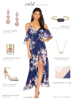 A wedding guest outfit idea with a cold shoulder maxi dress in a pretty navy blue and blush floral print by Yumi Kim, with accessories.