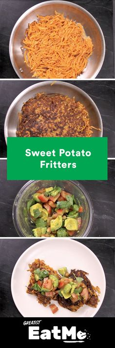 Sweet Potato Fritters With Avocado Salsa (Greatist) Healthy Eating Recipes, Vegetarian Recipes, Cooking Recipes, Veggie Dishes, Vegetable Recipes, Side Dishes, Sweet Potato Fritters, Roasted Sweet Potatoes, Vegan Foods