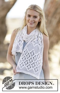 """Diamond Feather - Crochet DROPS stole with trebles and lace pattern in """"BabyAlpaca Silk"""". - Free pattern by DROPS Design"""