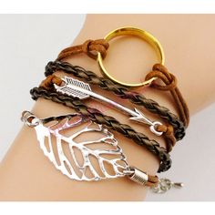 Bracelet, The Lord of the Rings, Ring, Arrow, Lucky Leaf, Leaf, Brown... ($7.99) ❤ liked on Polyvore featuring jewelry, bracelets, lotr, woven jewelry, leaf jewelry, leaf charms, brown jewelry and bronze bangle