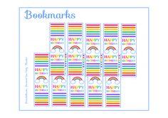 Free Rainbow Party Printable Bookmarks