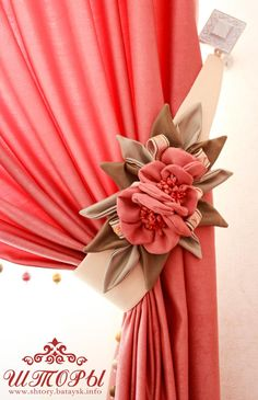 Luxury Curtains, Shabby Chic Curtains, Home Curtains, Tea Party Decorations, Felt Decorations, Curtain Styles, Curtain Designs, Fabric Flower Brooch, Fabric Flowers