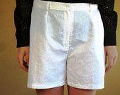 vintage summer eyelet white high waist shorts