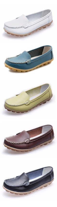 US$15.56 Casaul Soft Sole Pure Color Slip On Flat Shoes Loafers