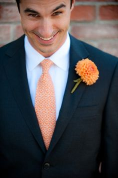 orange tie navy suit - Google Search