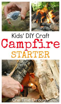 Kids' DIY Campfire Starter Craft - FREE to make and work great!  {One Time Through}#camping #campinginontario #kidscrafts