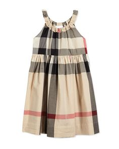 Sleeveless Shift Sundress, New Classic Check, Size 4Y-14Y by Burberry at Neiman Marcus.