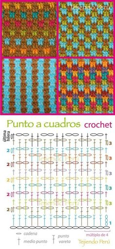 Crochet: grid stitch chart (diagram or pattern)! You can make a lot of combinations 🙂 Crochet: grid stitch chart (diagram or pattern)! You can make a lot of combinations 🙂 Gilet Crochet, Stitch Crochet, Crochet Motifs, Crochet Mandala, Crochet Diagram, Crochet Stitches Patterns, Tunisian Crochet, Crochet Chart, Crochet Squares