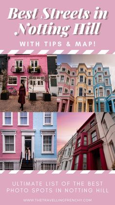 Notting Hill Instagram Locations. Best Streets in Notting Hill, London. Secrets Gems in Notting Hill #nottinghill #london Notting Hill London, London Travel, Travel Europe, European Travel, Pastel House, Photo Maps, Things To Do In London, Selfie, London England