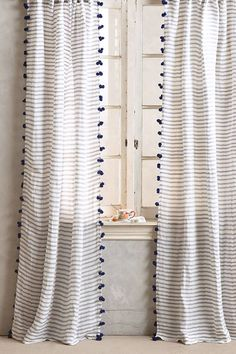 striped pom tassel curtains from anthropologie. / sfgirlbybay