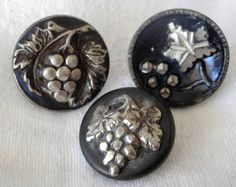 Lot of 3 ANTIQUE Grape Cluster Metal Sewing BUTTONS